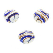 Flat Blue Gold Round Handmade Indian Glass Beads 18mm Pack of 3 (a90/4)