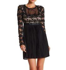 ROMEO & Juliet Couture Black Long Sleeve Pleated Lace Dress Sz M