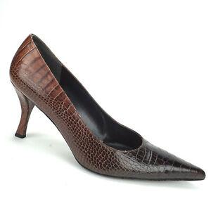Stuart Weitzman Croc Embossed Leather Point Classic Heels Pumps Womens Size 12 M