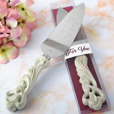 Set of 12 Engraved Double Heart Wedding Cake Servers Bridal Shower Favors