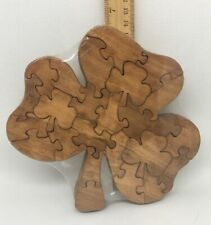 Shamrock Scroll Saw Puzzle - Handmade - 24 Pieces - Stained
