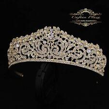 Tiara M Diadem Krone Rhinestone Crystal Hair Accessories Gold Bridal Jewellery