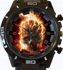 Reloj Pulsera Gothic Calavera En Llamas Nuevo Deportivo GT Series rápido de Reino Unido Vendedor