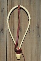 "Jose Ortiz 1/4"" Natural Rawhide Bosalita w Forelock Tie - Pear Knot - 12 Plait"