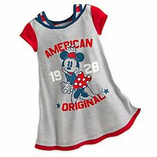 Girls MINNIE MOUSE AMERICANA Nightshirt Child XS 4 Disney Store Pjs Nightgown