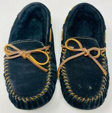 Emu Australia Amity Black Suede Fur Moccasin Loafer Slip On Shoes - Size 7 M