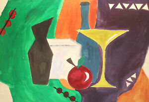 Vintage abstract cubist gouache painting still life