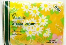 Twin Flat Sheet Wamsutta Superlin Retro Floral 72x104 New Vintage 1970s No Iron