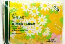 Twin Flat Sheet Wamsutta Superlin Retro Floral 72x104 New Vintage 1970s No Iron