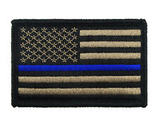 Police US Flag Thin Blue Line Tactical Hook & Loop Morale Tags Patch American CB