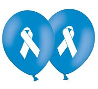 "Ribbon - Cancer Awareness - 12"" Printed Latex Dark Blue Balloons Pack of 8"