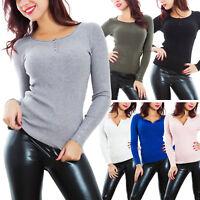 Maglione donna pullover maniche lunghe aderente costine serafino bottoni KK-6091