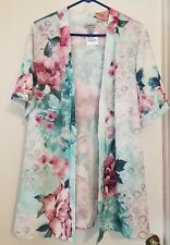NWT STUNNING CATHERINES WOMEN'S PLUS SIZE  FLORAL OPEN FRONT CARDIGAN SZ 14/16WP