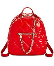 H84 Steve Madden Red Womens Quilted Nylon Jammin Backpack Bag