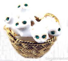 Gold Tone Basket Brooch White Enamel Kittens Cats in