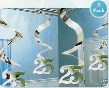 Girlande Spirale 25 Geburtstag Silber 5 X 61 Cm