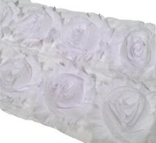 """1/2 yard white 2.5"""" shabby chiffon rose trim fabric flowers DIY baby headband"""