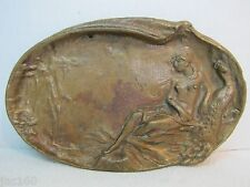 old vintage Art Nouveau styl Bronze Nude Maiden with Peacock decorative Tray
