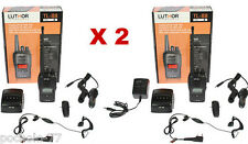 2 WALKIE TALKIES LUTHOR TL88 NEGROS CON BATERIA DE LITIO Y AURICULARES PMR446