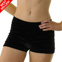WESTPOLE girls gymnastics dance shorts, Black velour shorts, ,velvet hipsters