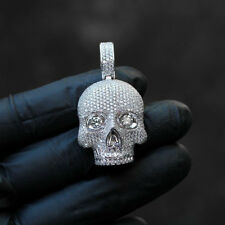 14K White Gold Over 8.80Ct Round Cut Diamond Skeleton Bones Pendant For Gift