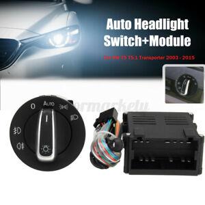Car Auto Headlight Sensor Switch + Module for VW T5 T5.1 Transporter 03-15 Black