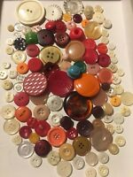 Huge Lot Of 100 + Vintage Sewing Buttons Multi Color Plastics Mixed Materials 1O