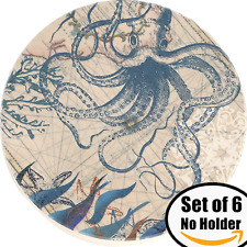 ENKORE Ceramic Stone Coaster Set of 6 Absorbent Mats To Protect Table From Marks