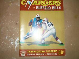 Vintage 1964 AFL Program San Diego Chargers vs. Buffalo Bills  November 26 1964