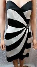 NEW Womens ABS Black White Stripe Dress Cocktail Formal Prom Wedding 6