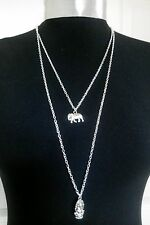 """Ganesha indian elephant Charms Layer Necklace Minimalist Silver Tone 30"""" Chain"""