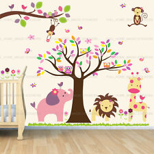 Huge Monkey Owls Tree Jungle Animal Wall Stickers Nursery Decor Home Kids Decal