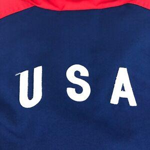 Vtg 90's Nike Track Jacket Soccer USA Olympic Mens XL Blue Drawstring B49-10