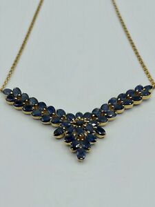 18k Gold Plated Natural Blue Sapphire Necklace Approx. 17.50 tcw
