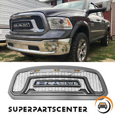 Matte Gray Rebel Style Front Grille Grill Amber Lights For Dodge Ram 1500 13-18