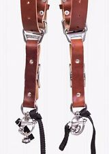 Small Chestnut Bridle Leather Hold Fast MoneyMaker Luxury Multi Camera Strap