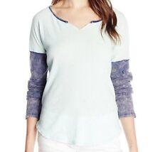 Womens Volcom Cover UR Basics Henley Bleached Aqua L/s Top Shirt M Medium