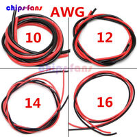 10/12/14/16 AWG Gauge Wire Flexible Silicone Copper  Black Red 2M Cables For RC