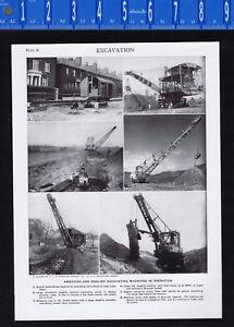 Excavation Machinery: Excavators & Graders- 1950s Print