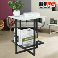Modern 2 Tier Side Table End Table Marble  Metal Legs Sofa Lap Living Room