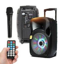 "12"" LED PA Party Karaoke Speaker System+Bluetooth +FM Radio/USB/TF/LED Recharge"