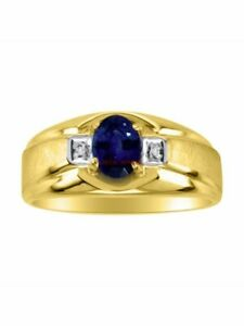 Natural Blue Sapphire Gemstone with Gold Plated 925 Sterling Silver Ring AJ326