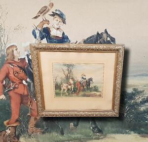 Falkenjagd mit eleganter Dame zu Pferd. Wilhelm Carl RÄUBER (*1849/1926 München)