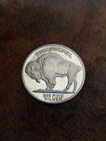 Buffalo Nickel Head Design 2 oz Silver .999 Fine Silver Coin Free Shipping