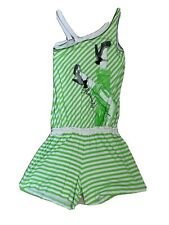 Girls Green And White Striped Playsuit –Shorts 12 Years