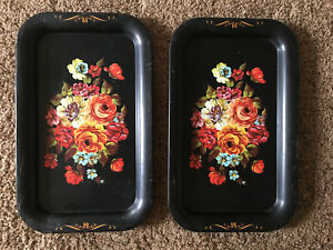 Set Of 2 Vintage Black Floral Toleware Small  Serving Metal Trays #A5