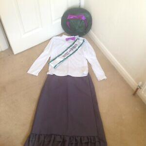 GIRLS VICTORIAN EMILY PANKHURST VOTES FOR WOMEN SUFFRAGETTE FANCY DRESS 10-12