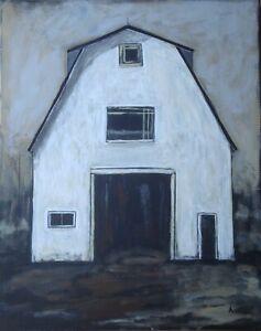 Original American Art Painting 20 x 16 canvas -  Tall White Barn