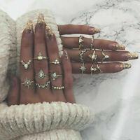 10/12Pcs/set Gold Midi Finger Ring Vintage Punk Boho Knuckle Rings Jewelry New