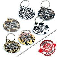 Pet ID Tags Animal Print Pet Tags Personalised Custom Collar Tag- Engraved* FREE